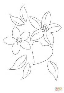 coloring pages flowers hearts heart and flowers coloring page free printable coloring