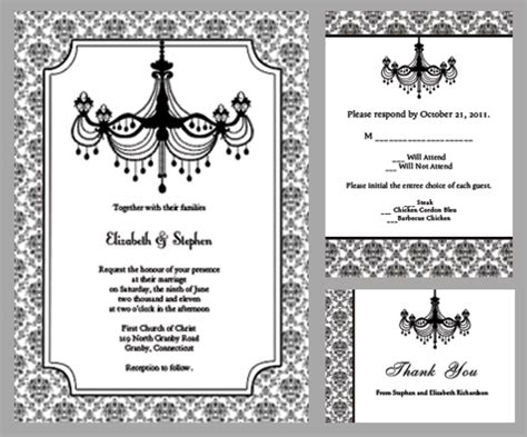 black and white wedding invitations templates black and white chandelier wedding invitation wedding