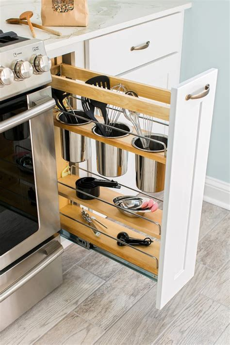narrow pull out cabinet organizer 24 creative small kitchen storage ideas shelterness