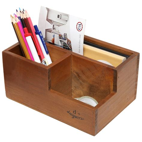 3 compartment desktop office supply caddy pen holder
