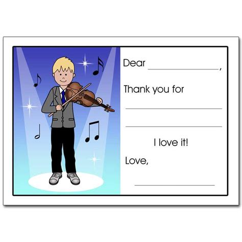thank you letter to violin violin recital or thank you note cards for boys