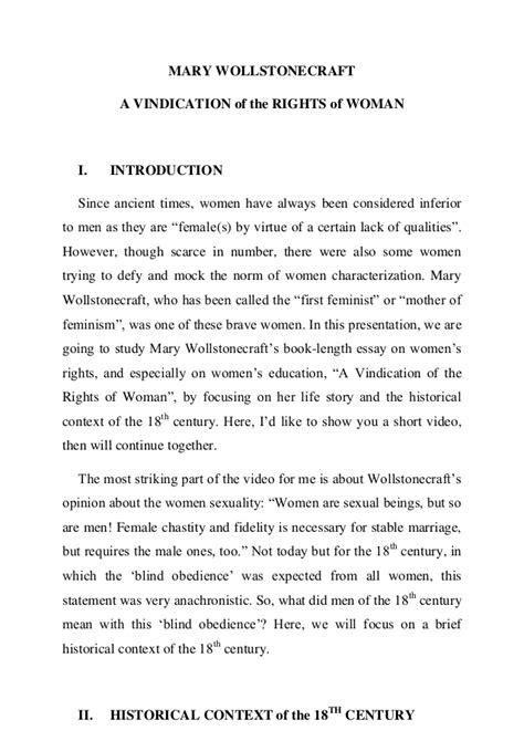 Wollstonecraft Essay by Analysis Of Wollstonecraft S Quot Vindication Quot