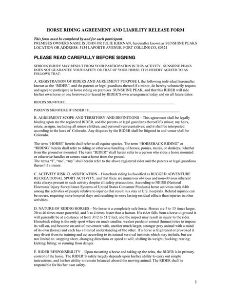 equine release form agreement and liability release form in word