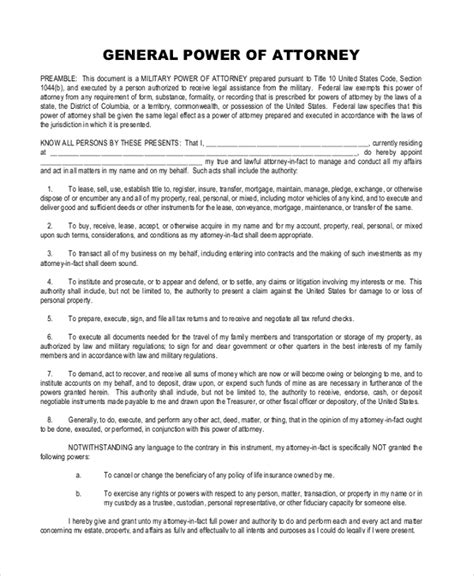 general power of attorney template 28 sle general power of attorney sle general