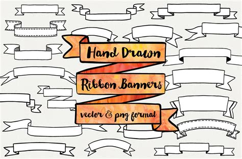 Hand Drawn Ribbon Banners Illustrations On Creative Market Awareness Ribbon Template Photoshop