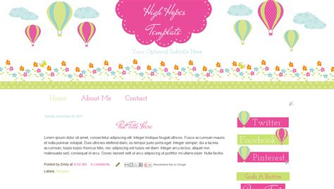 extra wide cute blogger template hot air balloon and flowers