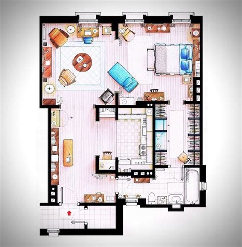 rendered floor plan rendered floor plans of your favorite tv characters interior sketch layout