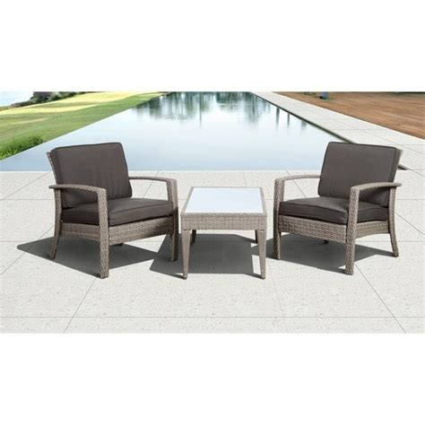 florida deluxe 3 pc wicker patio set with grey cushions in