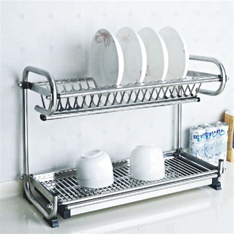 stainless steel dish rack desktop plate rack kitchen