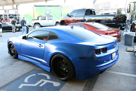 widebody cars matte blue chevy camaro widebody modified cars and auto