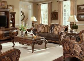 Leather And Fabric Living Room Sets Buy Lavelle Melange Living Room Set By Aico From Www Mmfurniture