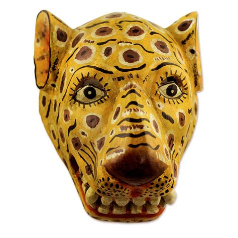 artisan crafted yellow jaguar mask yellow jaguar