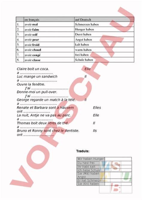 Musterbrief Angebot Französisch Www Unterrichtsmaterial Ch Franz 195 182 Sisch Grammatik Avoir Soif Arbeitsbl 195 164 Tter
