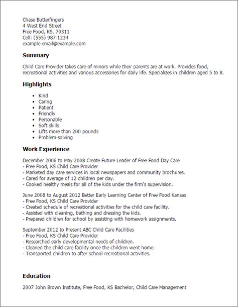 Childcare Resume by Child Care Provider Resume Template Best Design Tips