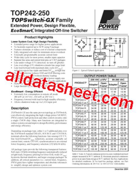 Ic Top247yn By Chacha Parts top247yn datasheet pdf power integrations inc