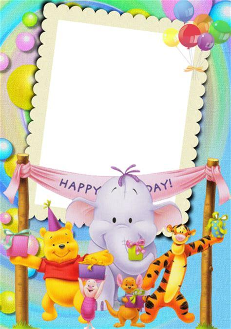 happy birthday  winnie  pooh kids photo frame