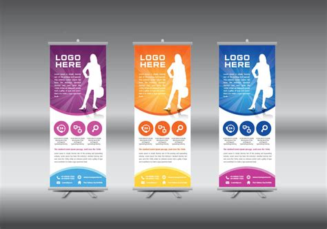 pop up banner template roll up banner template vector illustration