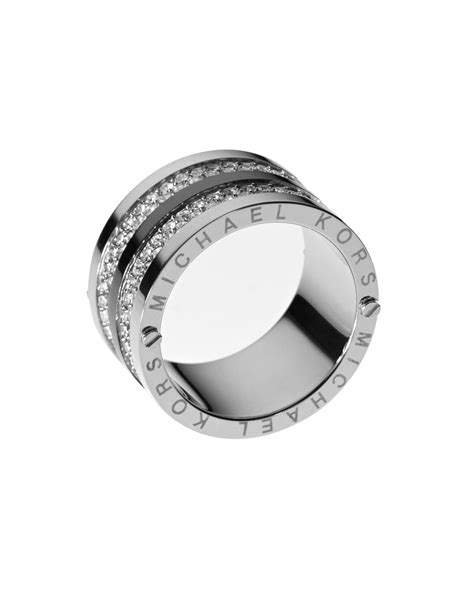 michael kors pave barrel band ring silver color in silver