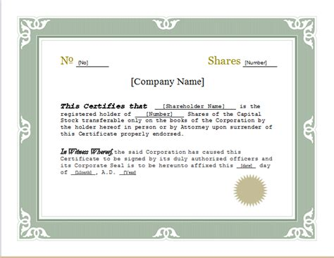 corporate stock certificate template free customizable stock certificate template for word