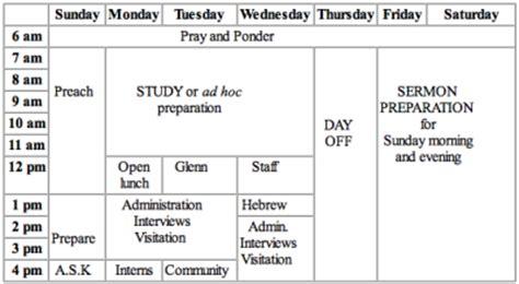 Pastor John S Schedule Desiring God Pastor S Weekly Schedule Template