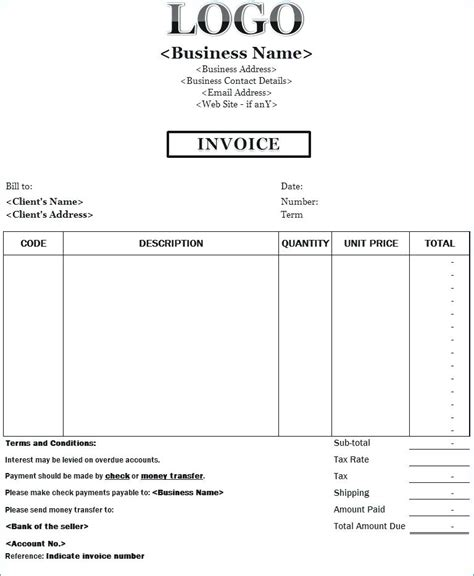 invoice for payment template exle of an invoice for payment invoice payment terms