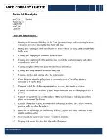 Janitor Job Description Template   Free Microsoft Word