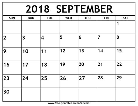 Calendar Sept 2018 September 2018 Calendar Free Printable Calendar