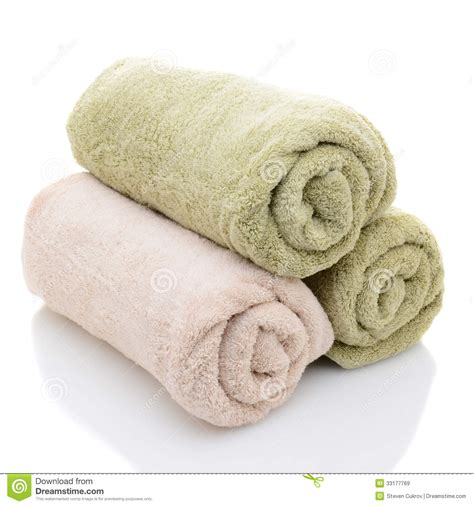 Shower Spa Bath three rolled bath towels royalty free stock images image