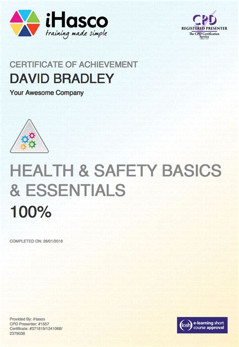 health and safety certificate template essential health and safety iosh approved ihasco