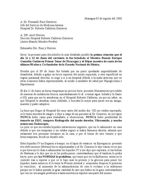 como redactar una carta a un jefe managua 05 de agosto del 2008 carta de reclamo a hospital