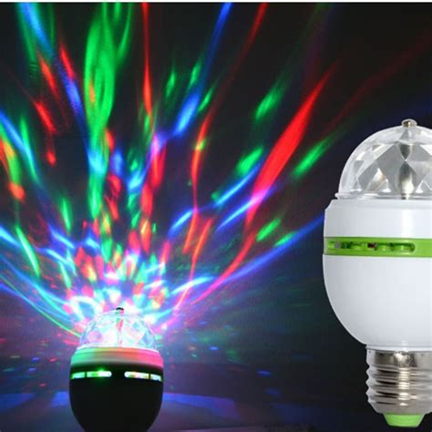 colorful rotating 3w crystal ball led light bulb disco