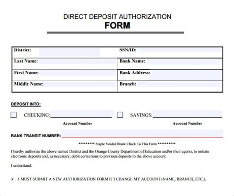 direct deposit forms for employees template sle direct deposit authorization form 7