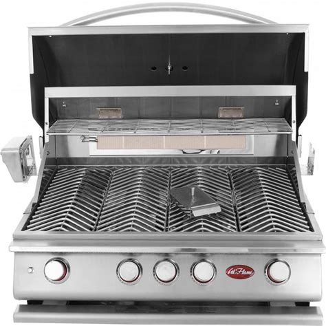 stainless steel outdoor kitchen with grill cover compact cal flame 4 burner built in propane gas grill in stainless