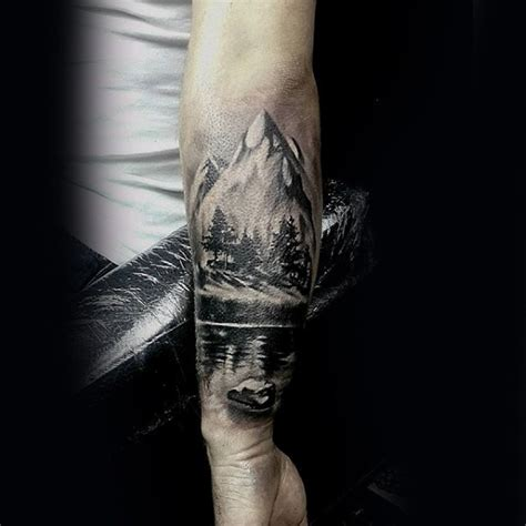 white mountain tattoo black and white forearm of mountains with forest