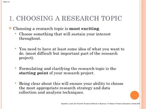choosing dissertation topic lecture 2 generating the research idea