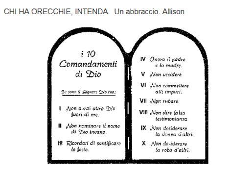 tavola dei dieci comandamenti allison