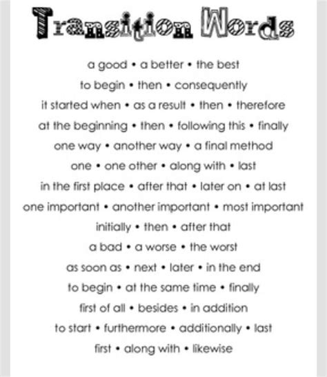Transition Upper El Literacy Transition Words