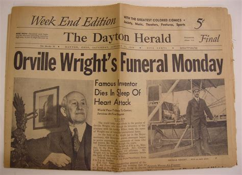 Heralded By The Herald by Dayton Herald Newspaper Jan 31 1948 Orville Wright S