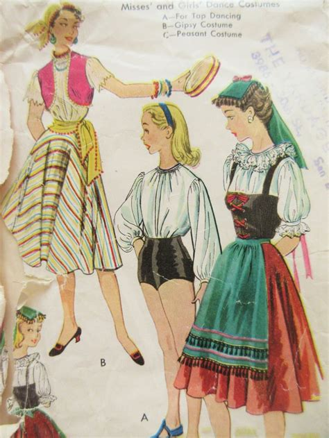 tap dance pattern vintage mccall s 792 sewing pattern 1950s costume pattern