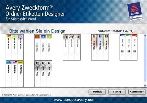 Zweckform Ordner Etiketten Drucken by Avery Zweckform Etiketten Drucken Software Download