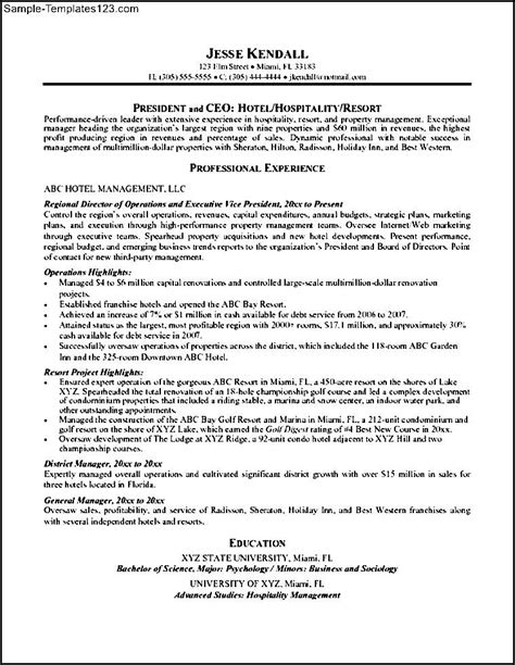 hospitality hotel management resume sle templates