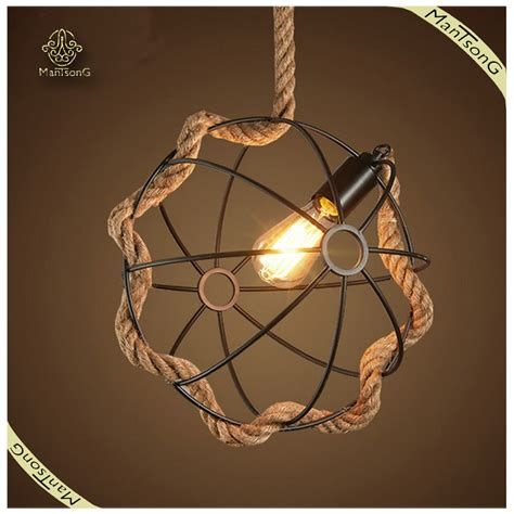 home indoor lighting hemp rope creative hanging pendant