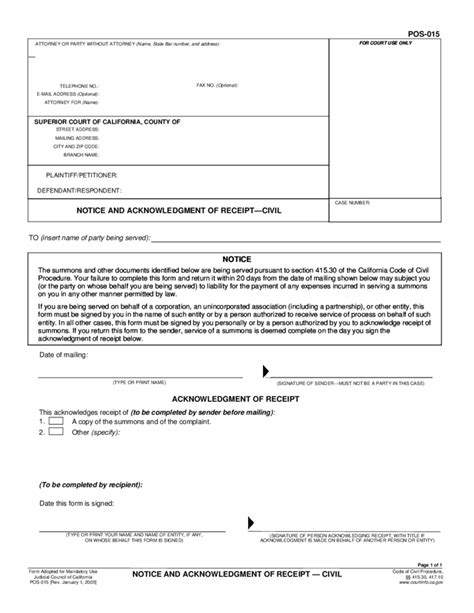 notice of receipt and acknowledgement template po s 015 notice and acknowledgment of receipt civil free