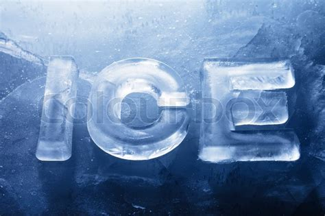 0007580916 the world of ice and word ice made with real ice letters on ice stock photo