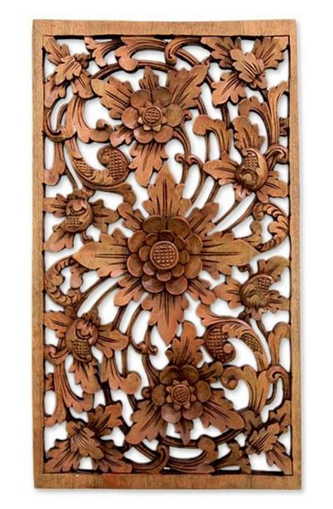 hand carved floral wood relief panel lotus garden
