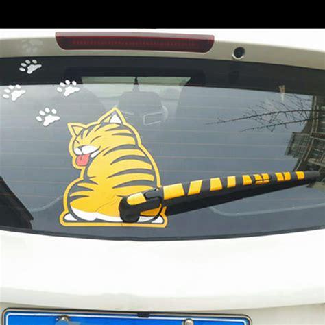 Stiker Sticker Wiper Belakang Kucing sticker cat w wagging wiper decal window windshield 25cm new ebay