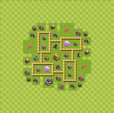 layout coc level 5 defense base layout town hall level 5 tipe defense coc indonesia