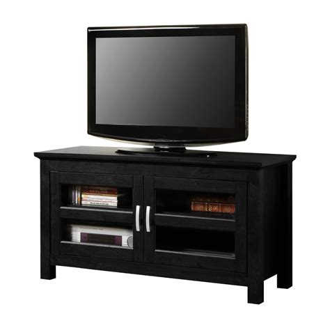 Tv Console Table 44 Quot Black Wood Tv Stand Console