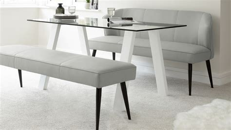 white glass  gloss dining table  leather bench set