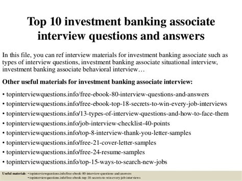 Mba Investment Banking Associate by Top 10 Investment Banking Associate Questions